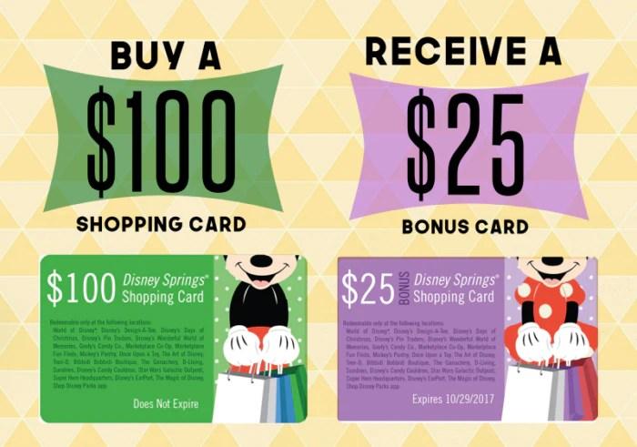Disney Springs Free $25 Shopping Card Promotion