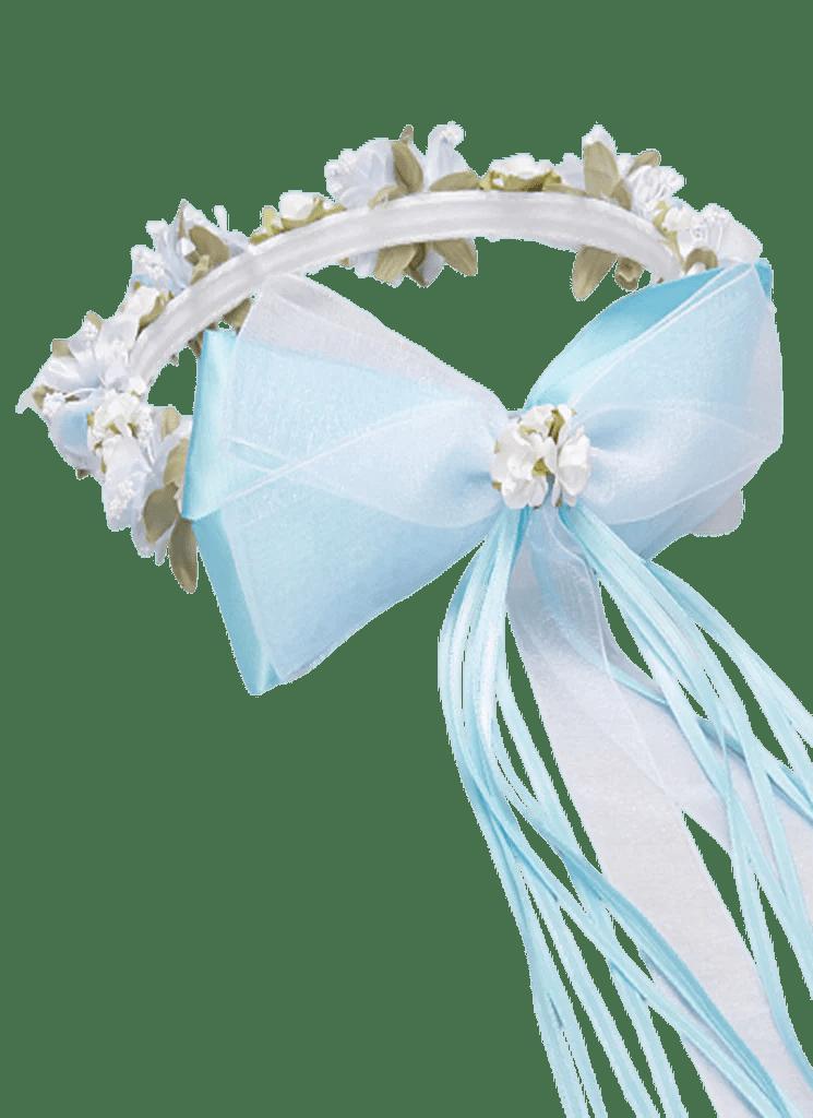 Light Blue Silk Amp Satin Floral Crown Wreath Girls Rachel