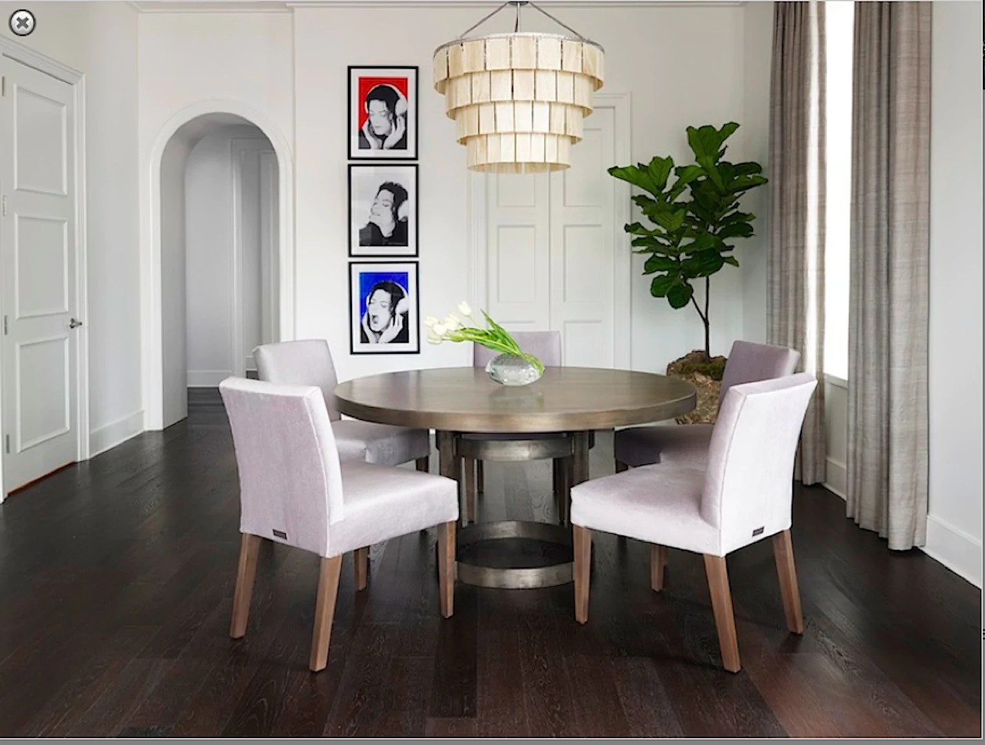 Industrial Modern Round Dining Table With Upholstered Chairs Mortise Tenon