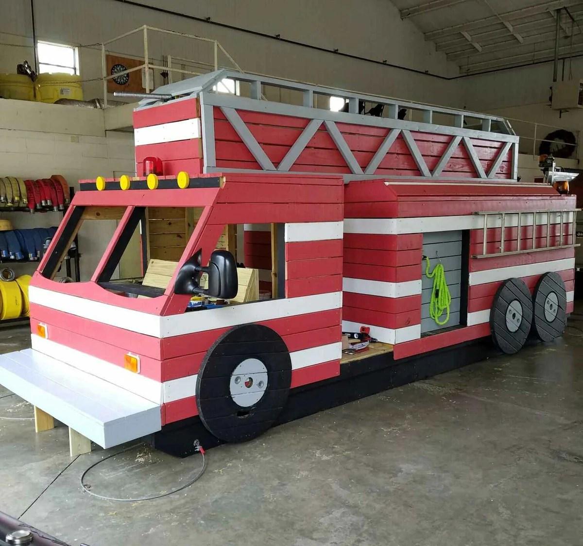 10x16 Fire Truck Play Set Plan For Kids Paul S Playhouses