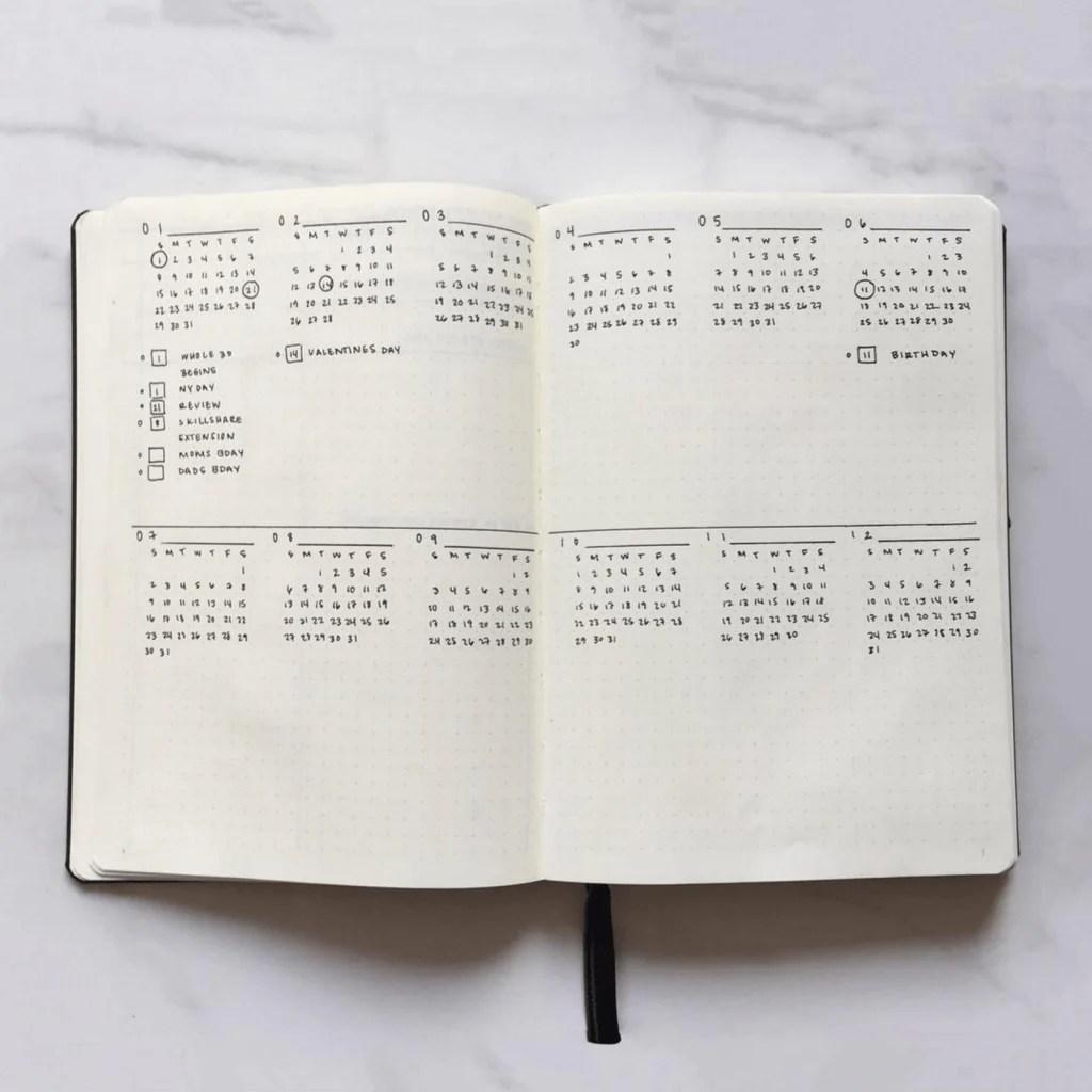 Bullet Journal Future Log by @wineorbread