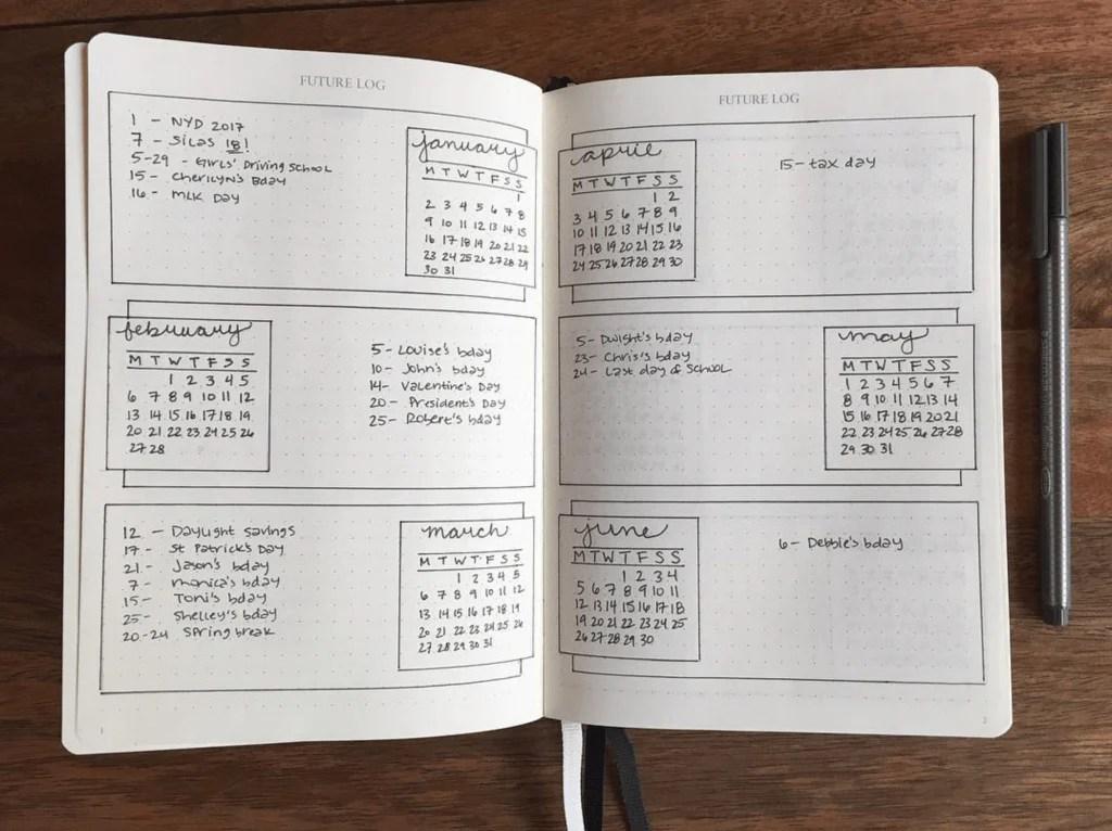 Bullet Journal Future Log by @blackinkjournal
