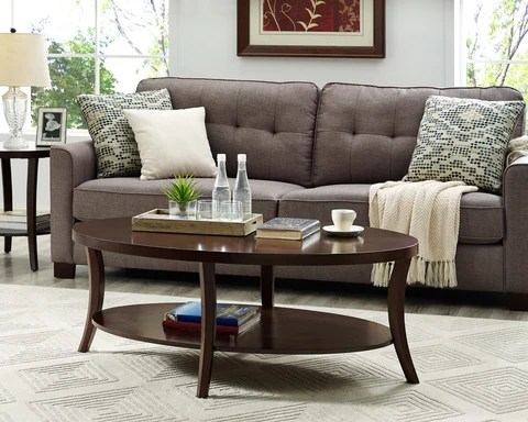 perth 3 piece espresso oval coffee table with end tables set