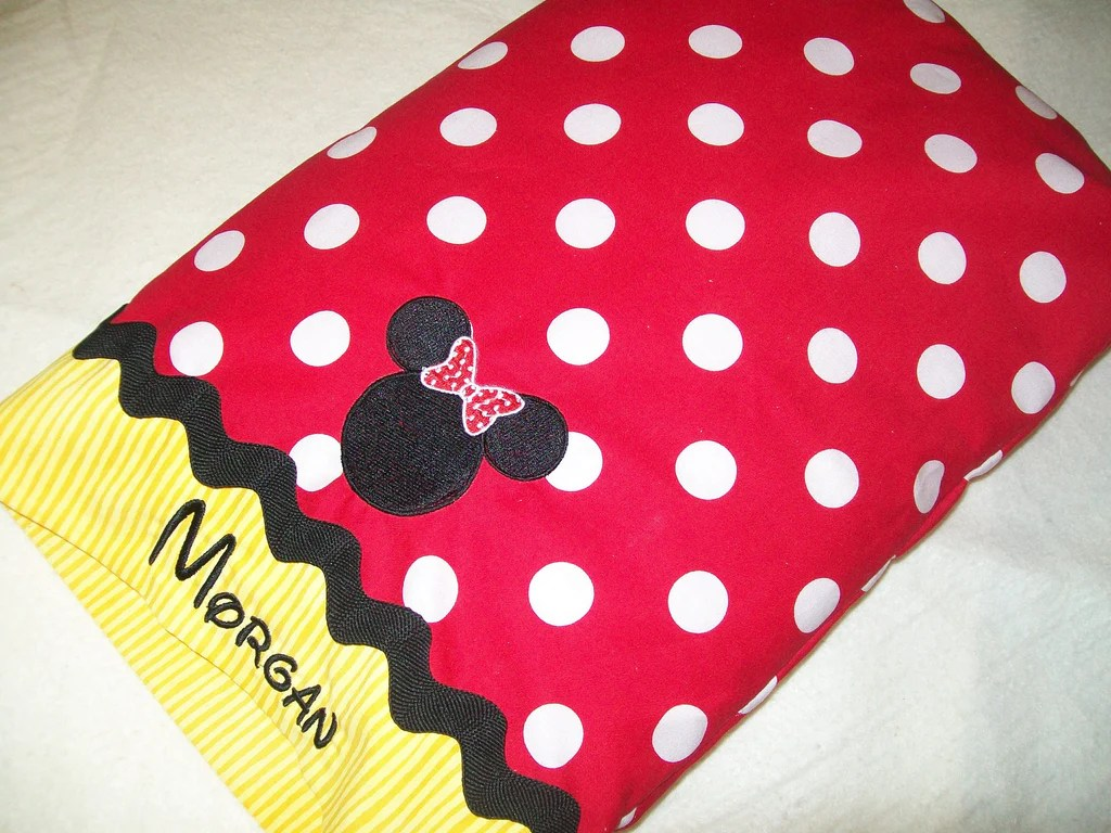 minnie mouse travel pillow case and blanket