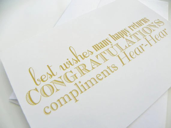 Congratulations Wedding Card Typography Gold And White Card Best Wishe Define Design 11