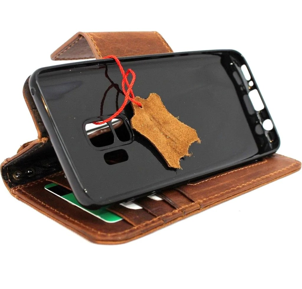 Genuine retro leather Case for Samsung Galaxy S9 Plus book ...