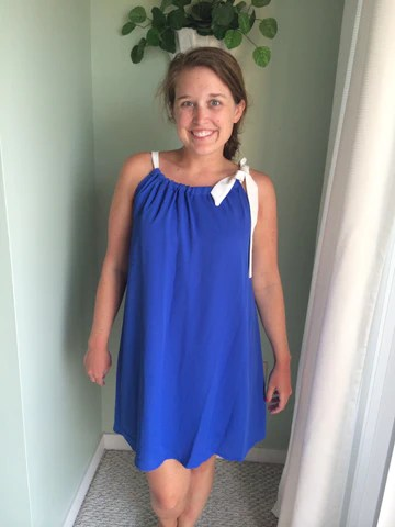Ansley Dress - Blue and White