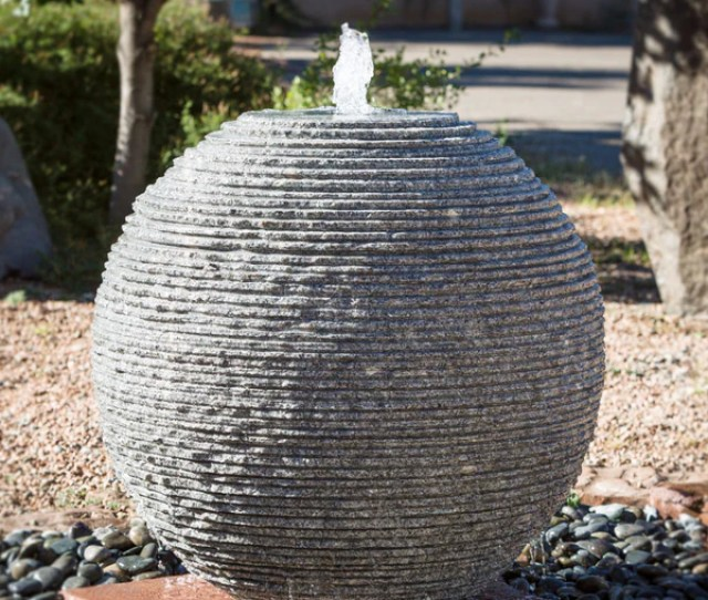Ribbed Sphere Fountain  Inch