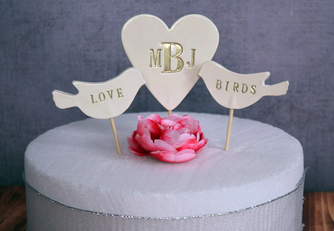 PERSONALIZED Heart Wedding Cake Topper with Love Birds