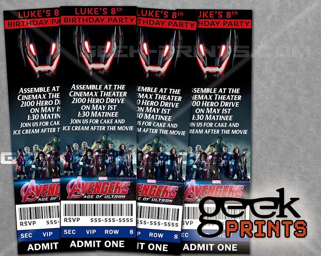 avengers age of ultron movie birthday party invitation custom