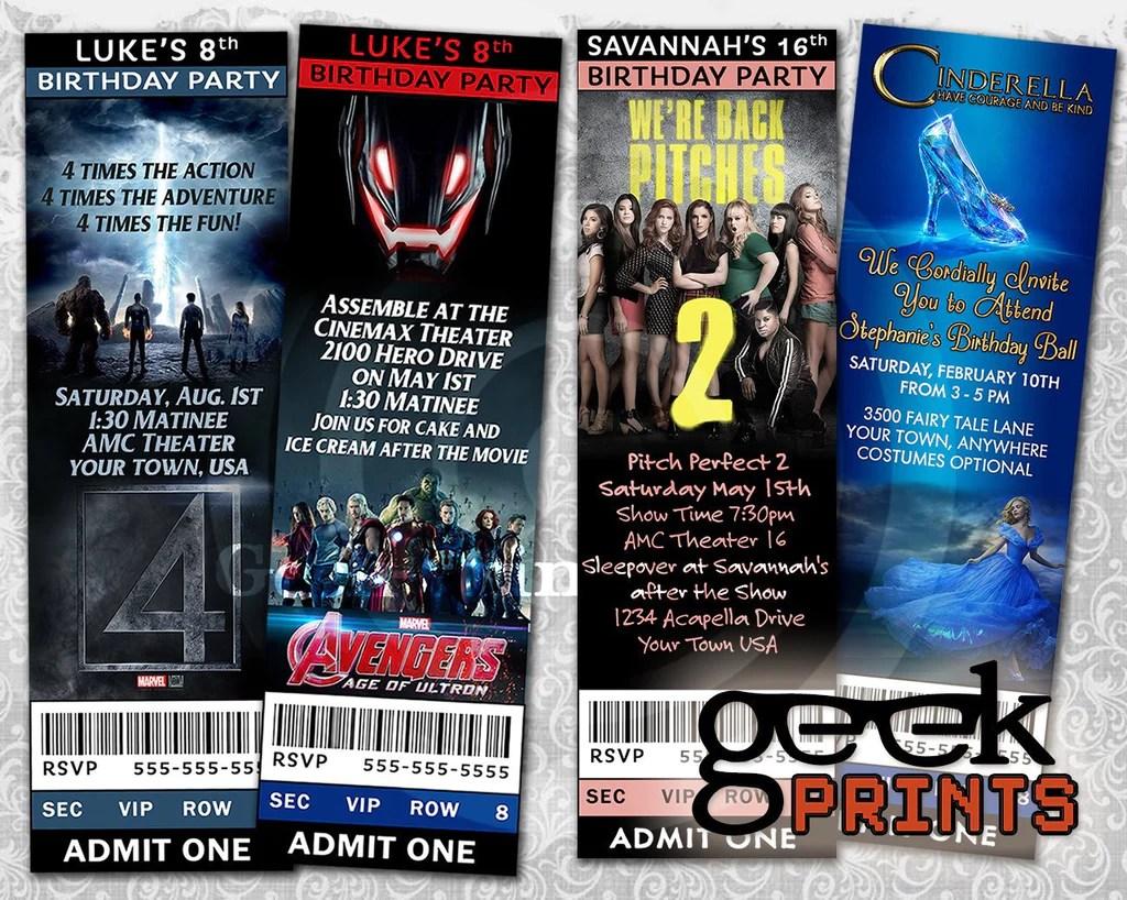 custom movie ticket birthday invitation