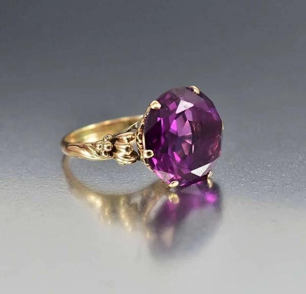 Vintage 14K Gold Color Change Alexandrite Ring Boylerpf