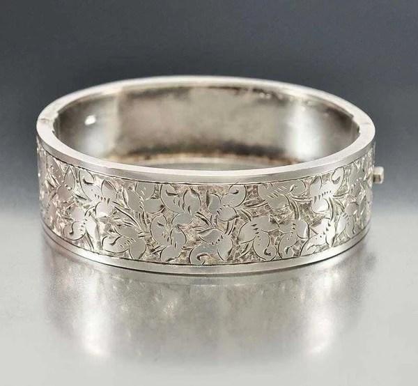 Antique Victorian Sterling Silver Bangle Bracelet Boylerpf