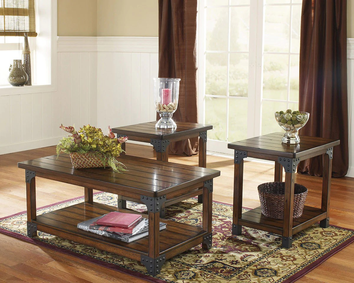Murphy Wood Metal Coffee Table Set By Ashley Furniture My Furniture Place