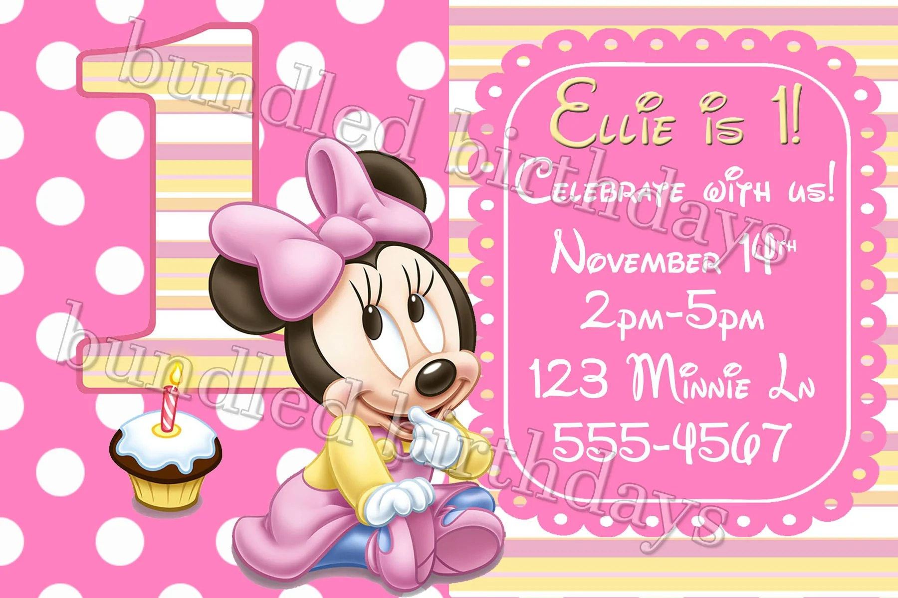 minnie mouse first birthday invitation digital download