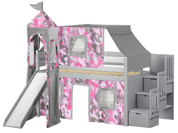 Princess Stairway Gray Loft Bed Pink Camo Tent 665
