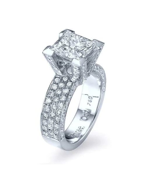 2ct Platinum Princess Cut Pave Set 3 Row Engagement Ring