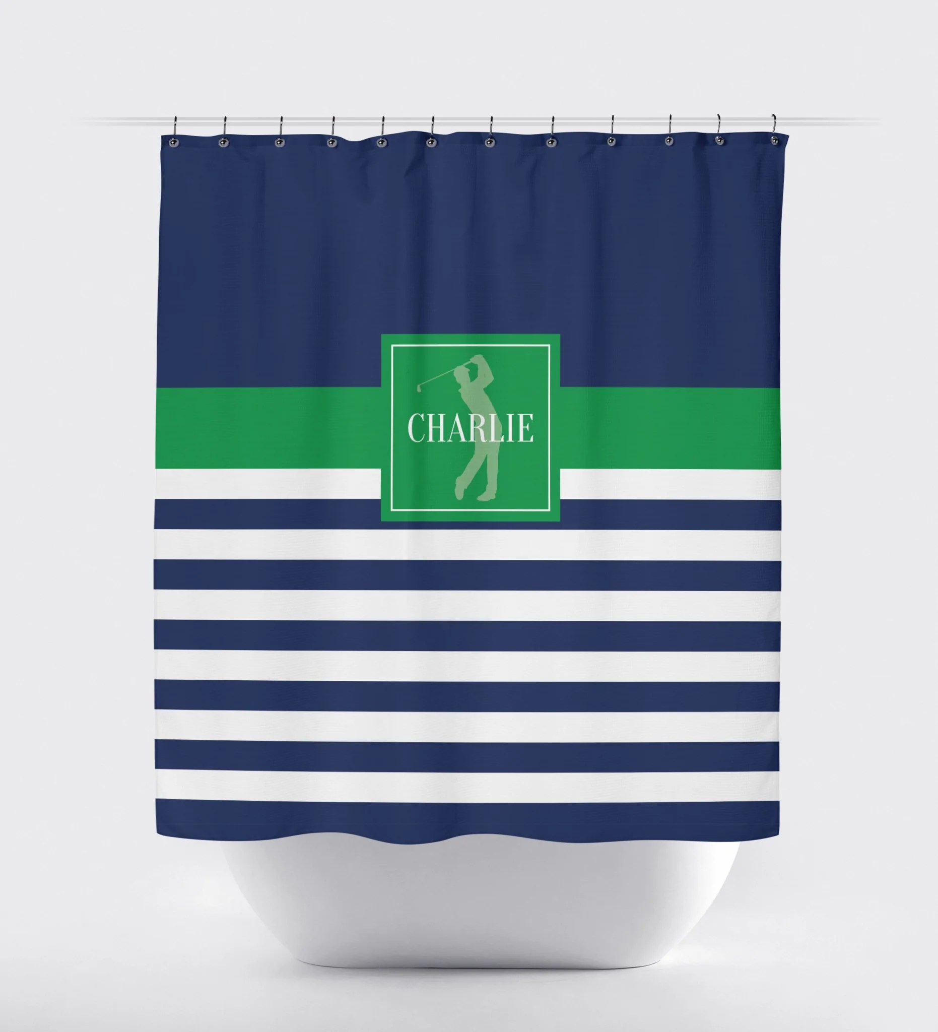 Golf Shower Curtain With Rugby Stripes Navy Blue Green White Choose Any Colors