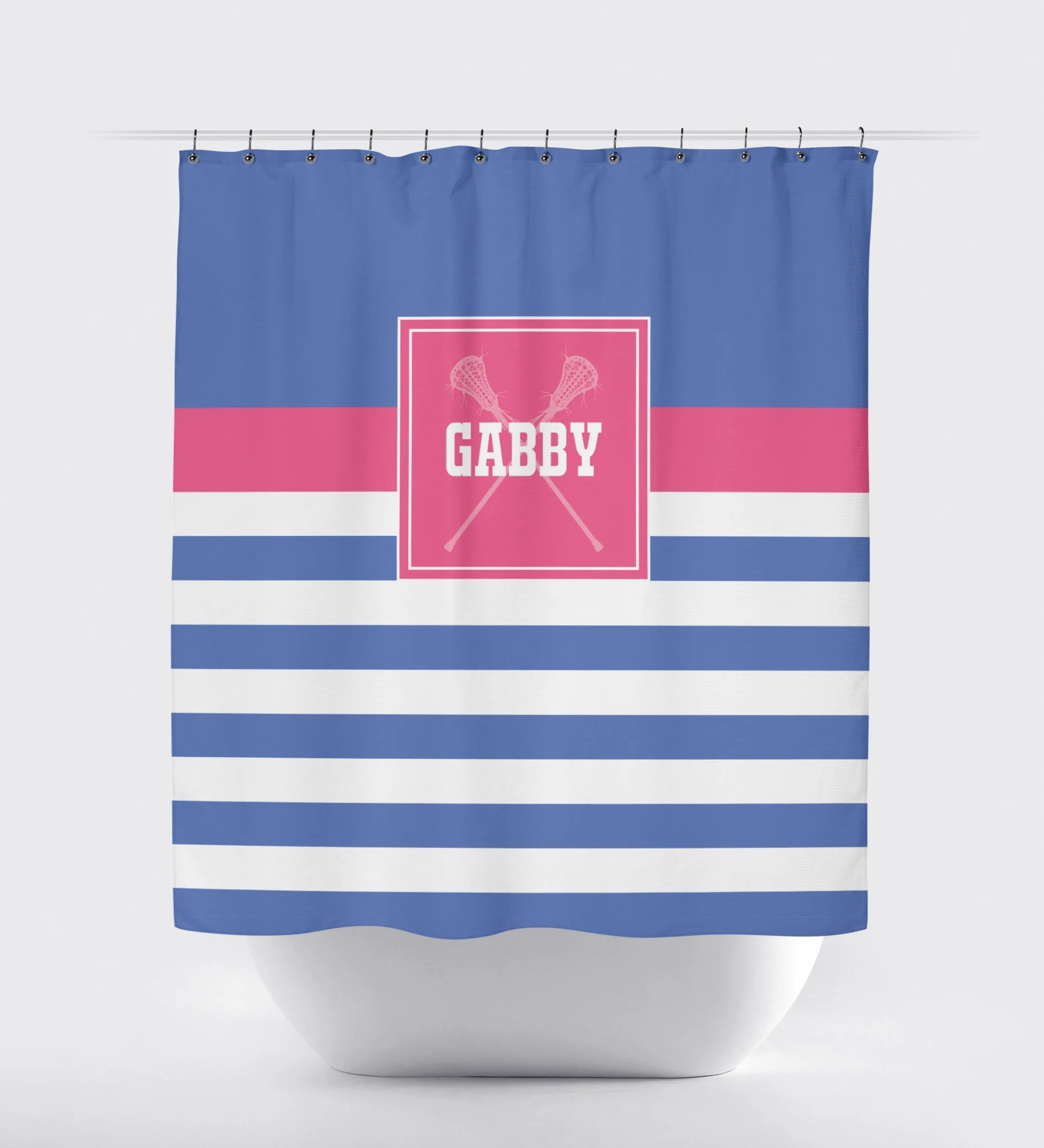 Lacrosse Striped Shower Curtain Girls Lax Sticks Navy Blue Hot Pink And White Choose Any Colors