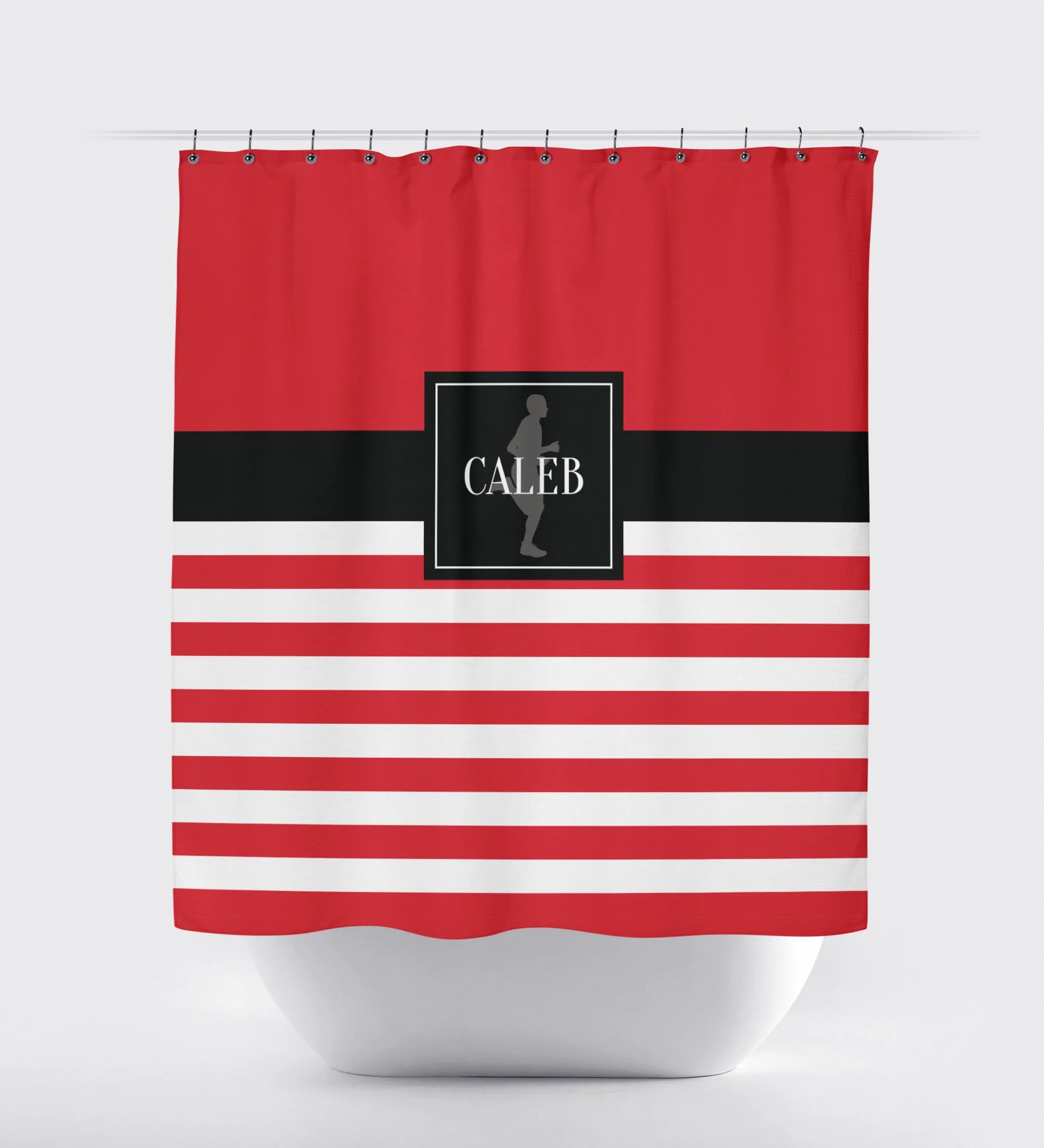 Running Themed Rugby Striped Shower Curtain Male Runner White Red Black Choose Any Colors