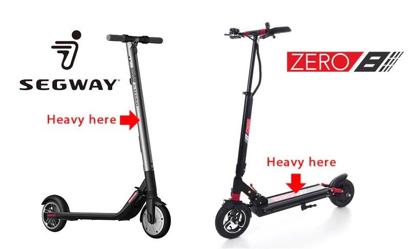 comparaison de scooter électrique segway es2 zéro 8 répartition du poids