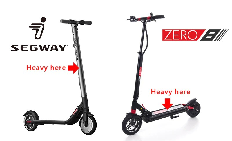 electric scooter comparison segway es2 zero 8 weight distribution