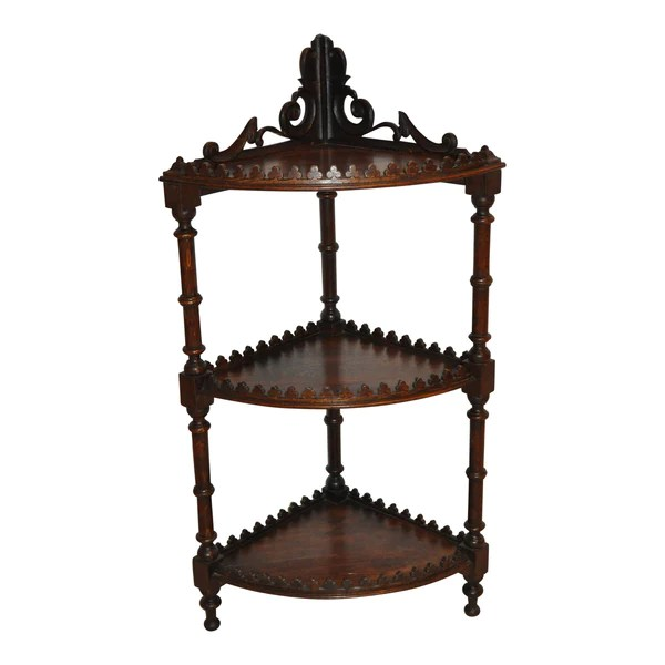 Corner Étagère with Three Shelves - Ski Country Antiques ... on Corner Sconce Shelf Cabinet id=88065