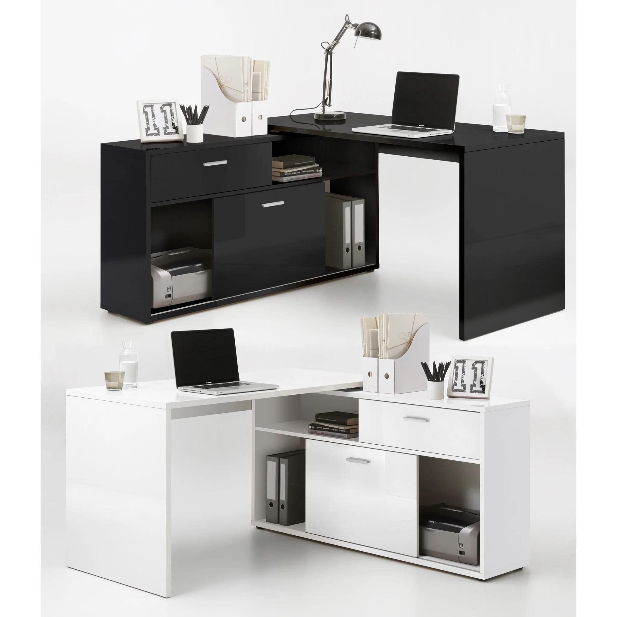 diego high gloss l shape corner desk reversible pc computer desk