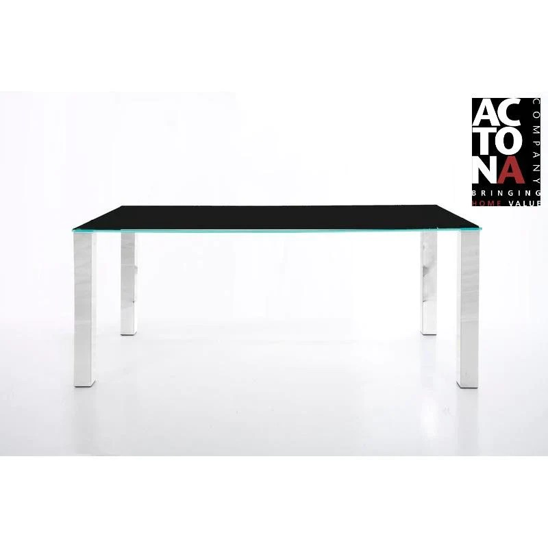 clearance actona kante designer black glass chrome dining table