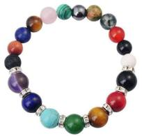 Natural Semi Precious Stone 8MM Round Beads Reiki Charms Bracelet with 7 Chakra Healing Crystal   AtPerrys Healing Crystals   2