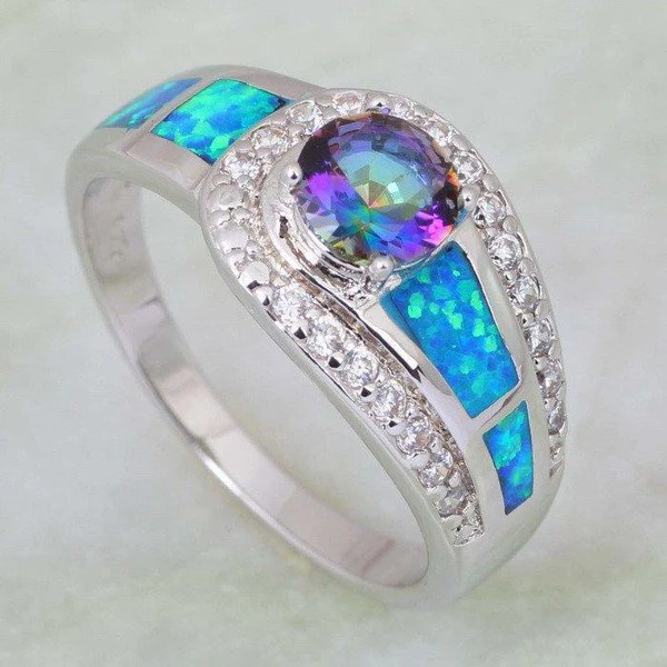 Mystic Topaz Opal Silver Ring Silver Plated AtPerrys