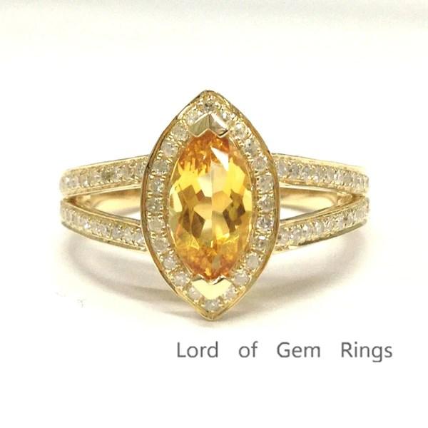 799 Marquise Citrine Engagement Ring Pave Diamond Wedding