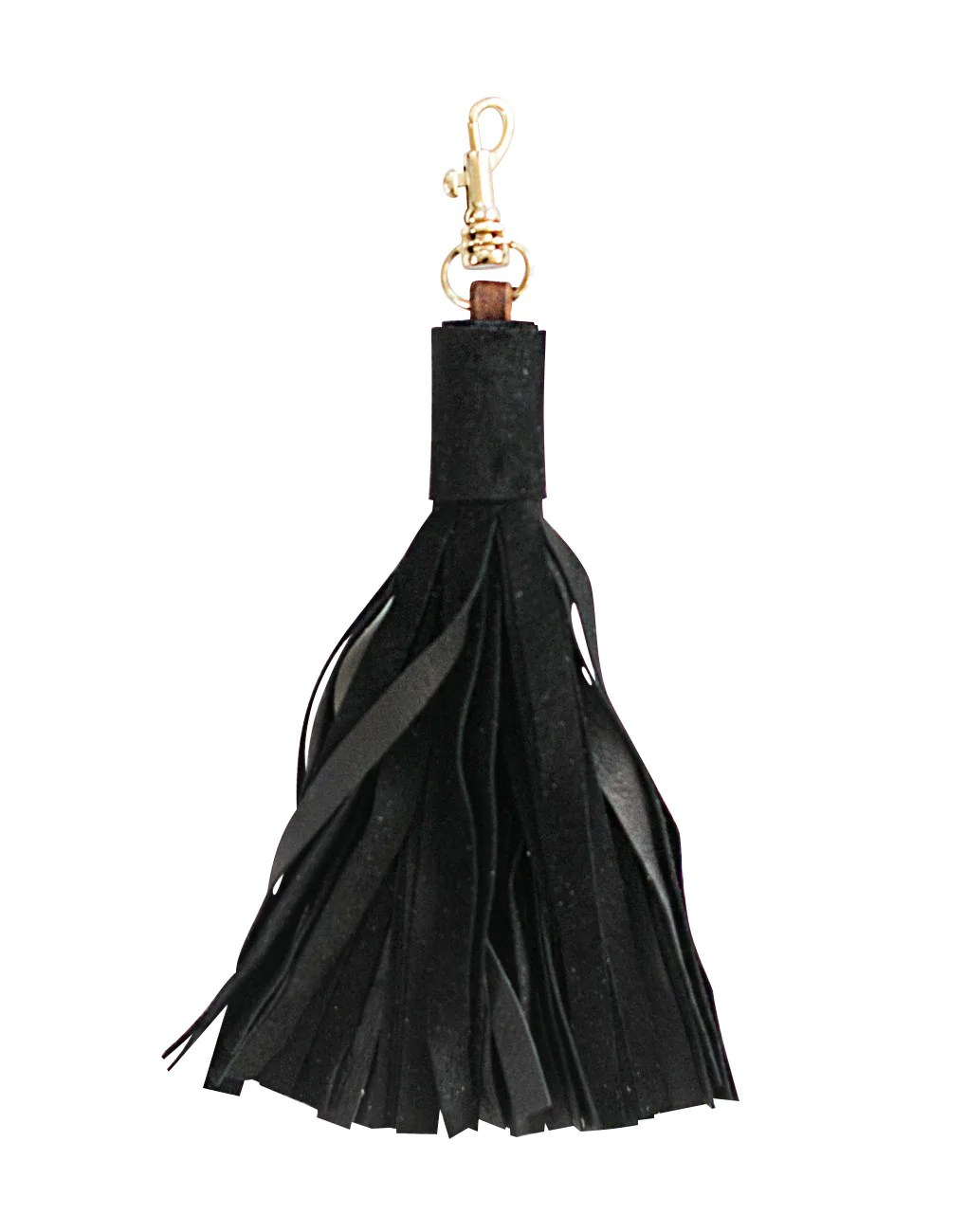 Fair Trade Black Leather Tassel Keychain The Little Market