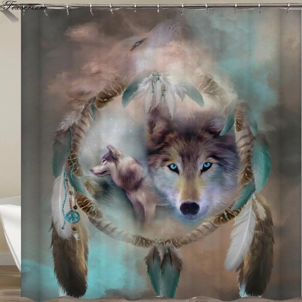 wolf bath curtain dreamcatcher curtain