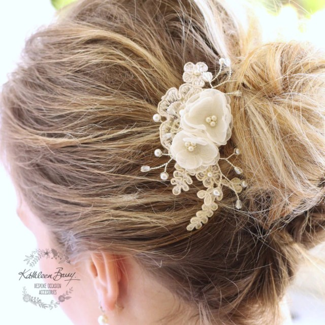 kali floral lace hairpiece - dainty hair clip - bridal wedding hair accessory - blush pink, ivory or white