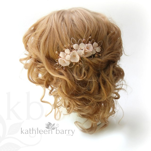 rose gold hair comb blush pink wedding bridal accessories