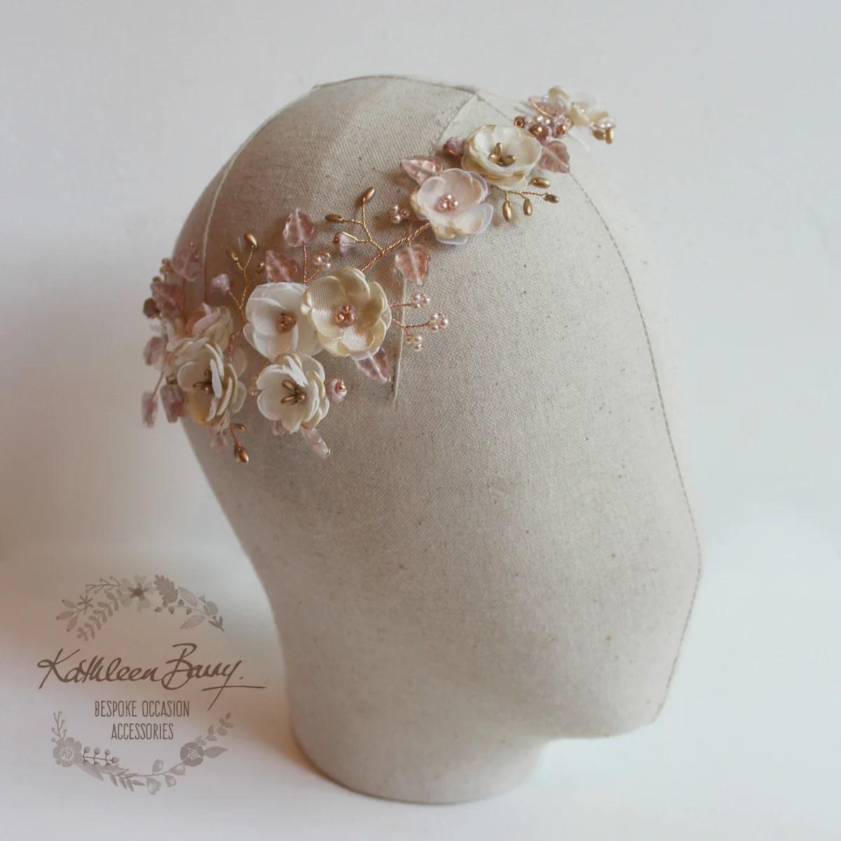 Crown Rose Gold Champagne Blush Pink Flower Wedding