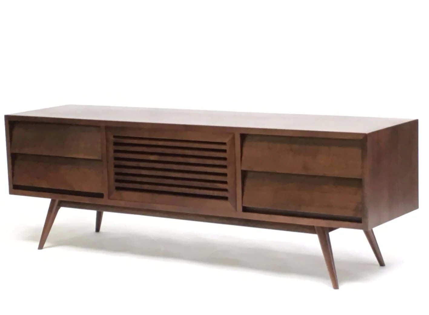 Oslo Solid Walnut Mid Century Modern Tv Cabinet Gingko Gingko Home Furnishings