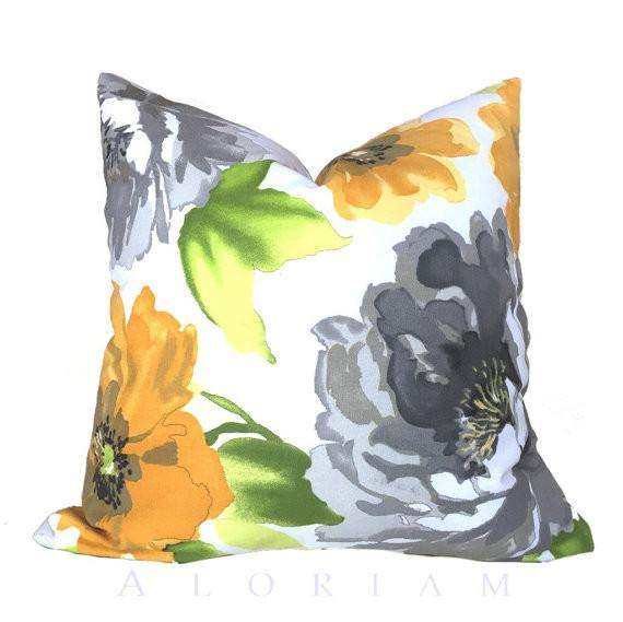 modern yellow gray green white floral flower throw pillow cushion cover