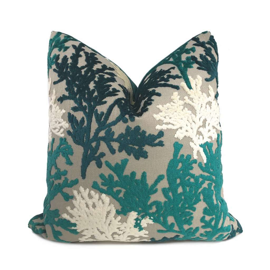 lahaina teal green cream beige coral reef cut velvet pillow cover