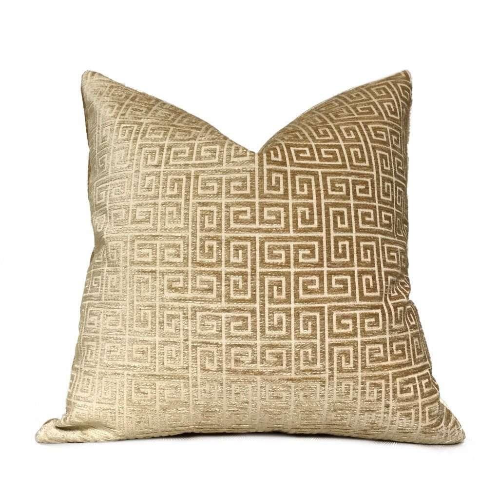 robert allen plush greek keys gold sand beige velvet chenille pillow cover