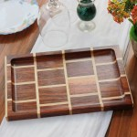 Brick Style Wooden Tray Wooden Serving Tray Rectangular Wooden Tray Woodgeekstore