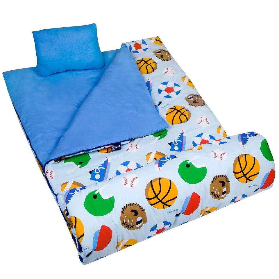 sports game kids sleeping bag pillow set for boys
