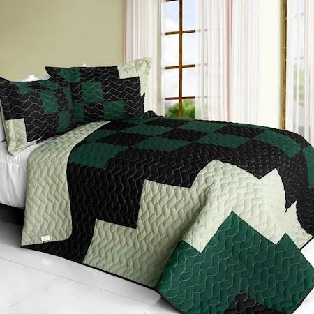 dark green black white teen boy patchwork bedding full queen quilt set modern geometric bedspread