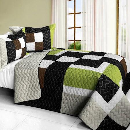 elegant black white grey teen boy bedding full queen quilt set patchwork geometric bedspread