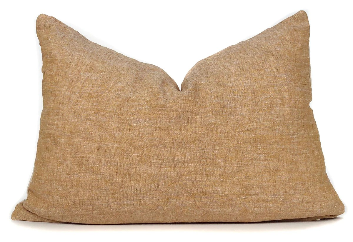 amber pillow cover italian linen lumbar 14x20 no6000