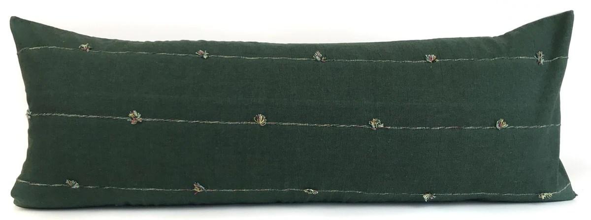 chiang mai green lumbar pillow cover 14x36 no4069