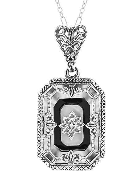 Art Deco Rectangular Onyx Crystal And Diamond Filigree