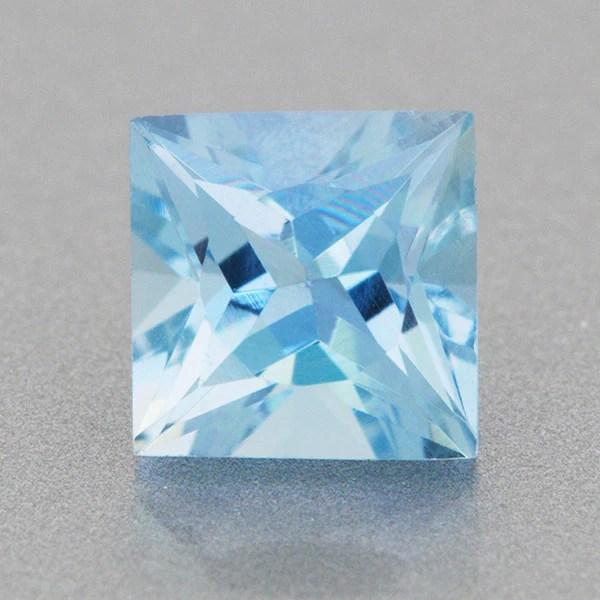 0 66 Carat Rich Azure Blue Fine Aquamarine Square Gemstone 5mm Natural Loose Princess Aqua