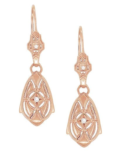 Art Deco Dangling Sterling Silver Diamond Filigree
